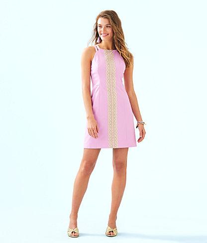 Pearl Stretch Shift Dress, Lilac Freesia, large 3