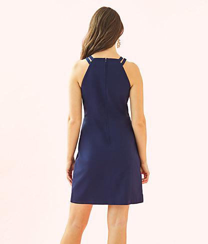 Pearl Stretch Shift Dress, True Navy, large 1