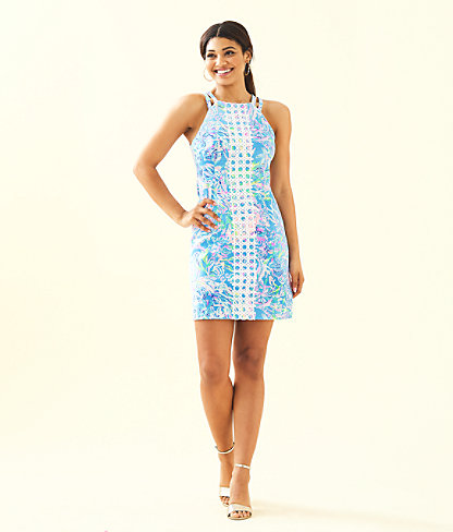 Pearl Stretch Shift Dress, Multi All Together Now, large 3