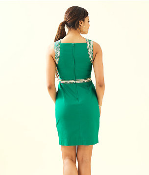 Dana Stretch Shift Dress, Emerald Isle, large