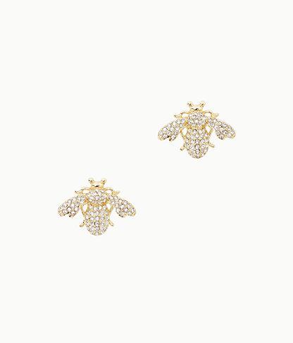 Bee-utiful Earrings, Gold Metallic, large 0