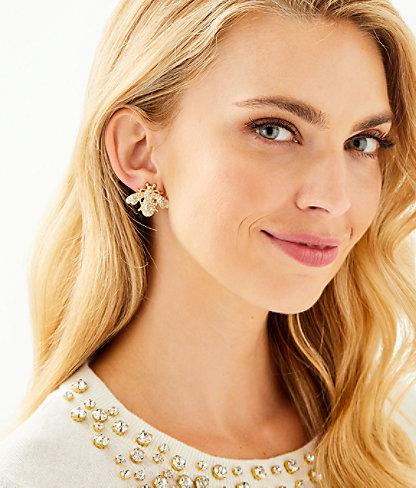 Bee-utiful Earrings, Gold Metallic, large 1