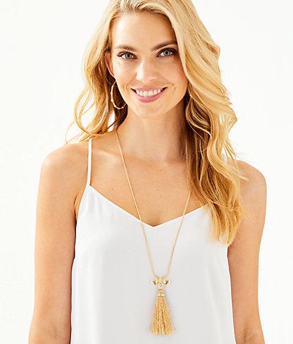 Bee-utiful Tassel Necklace, Gold Metallic, large 1