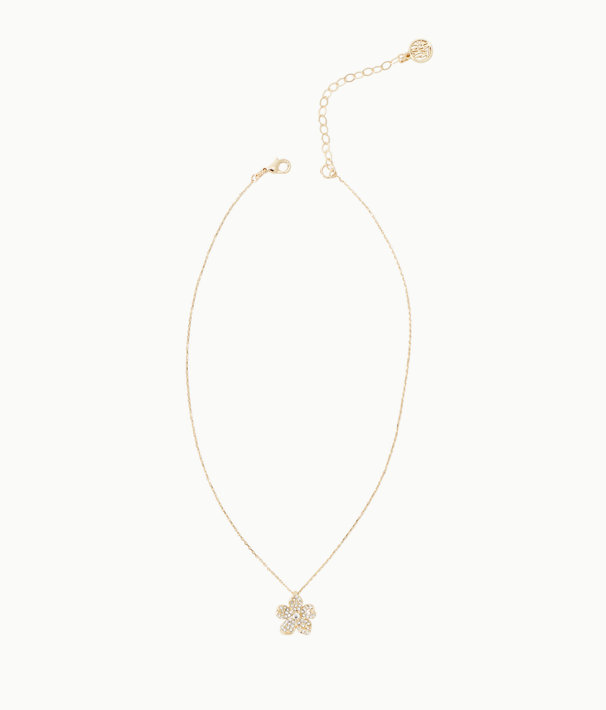 Beach Club Blooms Necklace, Gold Metallic, large