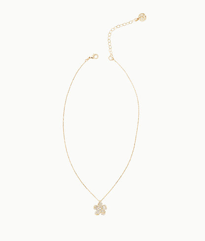 Beach Club Blooms Necklace, Gold Metallic, large 0