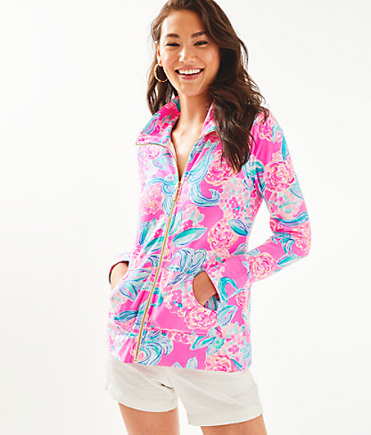 UPF 50+ Leona Zip-Up, Prosecco Pink Pinking Positive, large 0