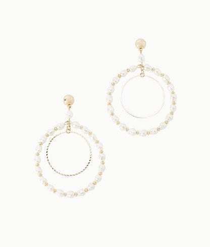 Kismet Pearl Hoop Earrings, Resort White, large 0
