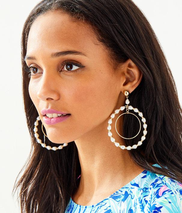 Kismet Pearl Hoop Earrings, Resort White, large