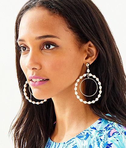 Kismet Pearl Hoop Earrings, Resort White, large 1