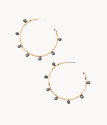 Gemma Pearl Hoop Earrings, Onyx, large