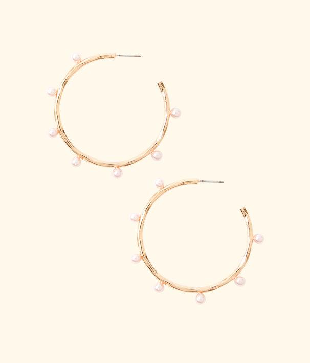 Gemma Pearl Hoop Earrings, Pink Tropics Tint, large