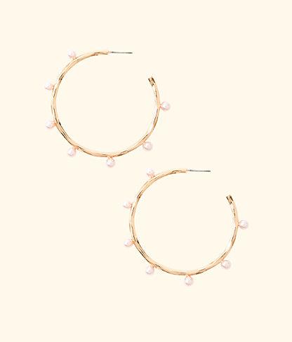 Gemma Pearl Hoop Earrings, Pink Tropics Tint, large 0