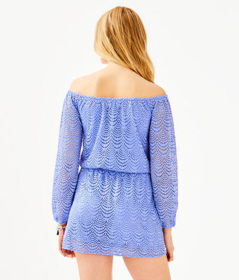 Lana Skort Romper, Blue Hyacinth Scalloped Shell Lace, large 1