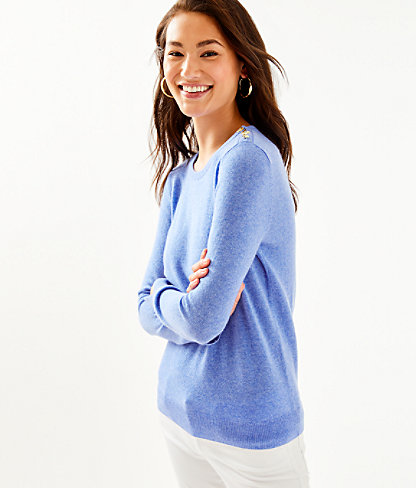 Delvin Cashmere Sweater, Heathered Beckon Blue, large 0