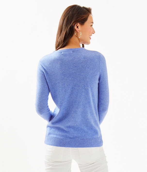 Delvin Cashmere Sweater, Heathered Beckon Blue, large