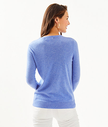 Delvin Cashmere Sweater, Heathered Beckon Blue, large 1