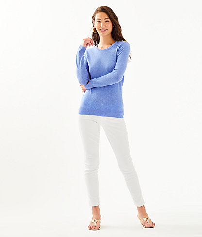 Delvin Cashmere Sweater, Heathered Beckon Blue, large 3
