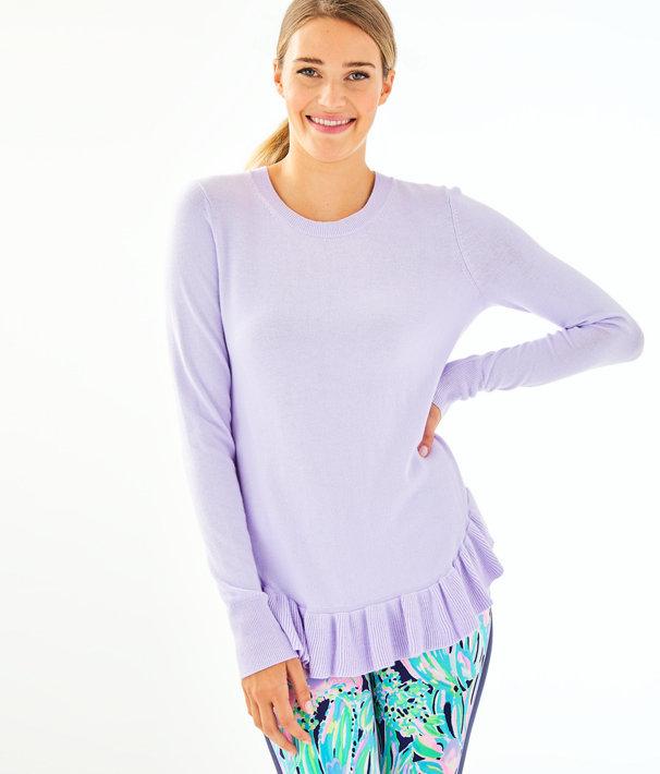 Estela Ruffle Sweater, Light Lilac Verbena, large