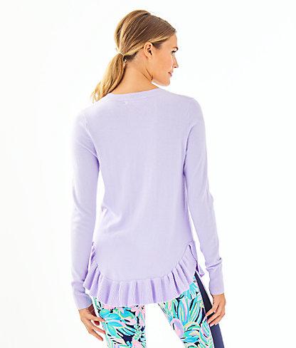 Estela Ruffle Sweater, Light Lilac Verbena, large 1