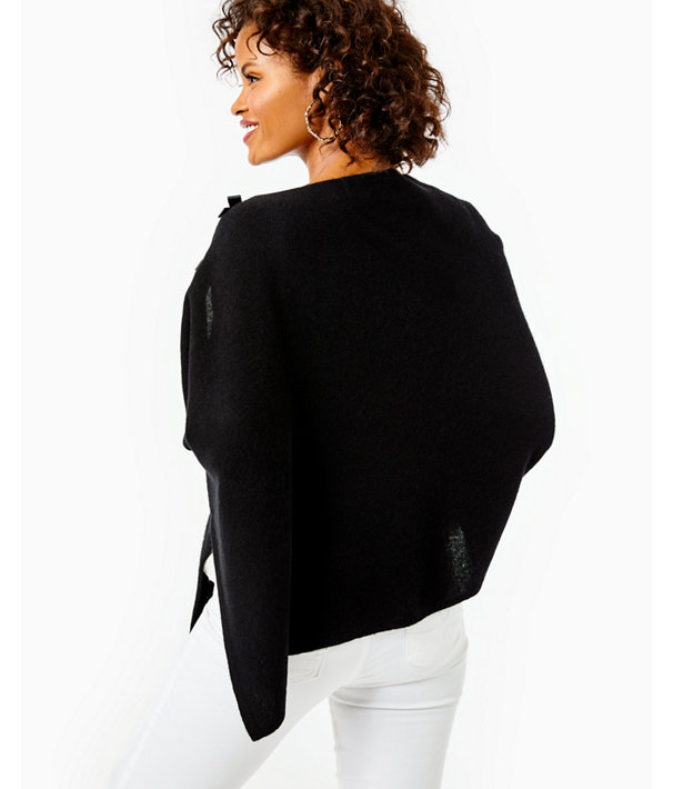 Harp Cashmere Wrap With Bows, Black, large