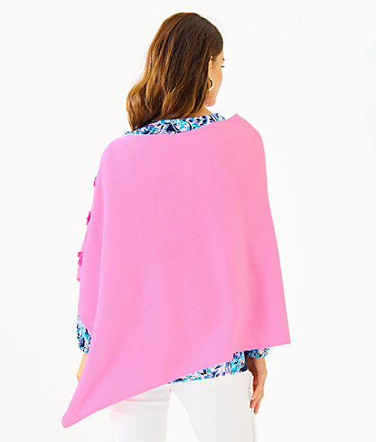 Harp Cashmere Wrap With Bows, Prosecco Pink, large 1
