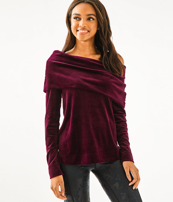 Belinda One-Shoulder Velour Pullover, Cabernet Berry, large