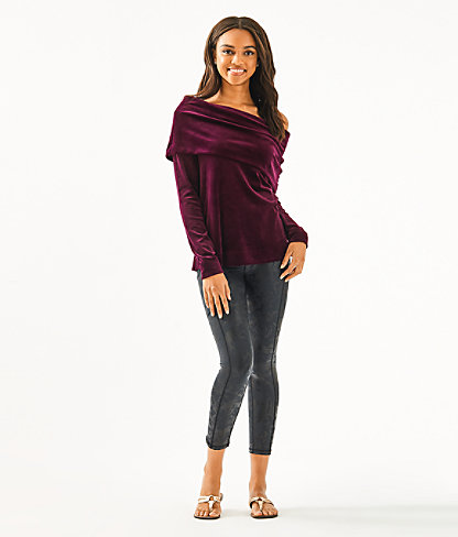 Belinda One-Shoulder Velour Pullover, Cabernet Berry, large 2
