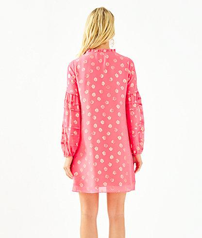 Giana Silk Dress, Coral Spritz Seagrass Metallic Clip Chiffon, large 1
