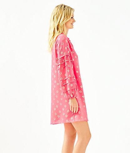 Giana Silk Dress, Coral Spritz Seagrass Metallic Clip Chiffon, large 2