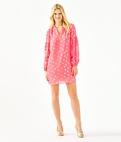Giana Silk Dress, Coral Spritz Seagrass Metallic Clip Chiffon, large 3