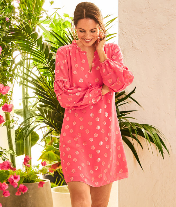 Giana Silk Dress, Coral Spritz Seagrass Metallic Clip Chiffon, large