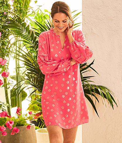 Giana Silk Dress, Coral Spritz Seagrass Metallic Clip Chiffon, large 4