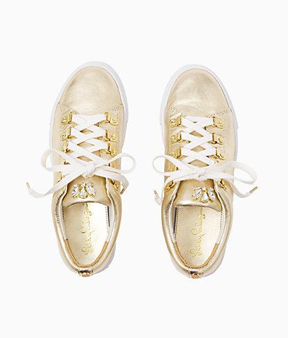 Hallie Sneaker, Gold Metallic, large 1