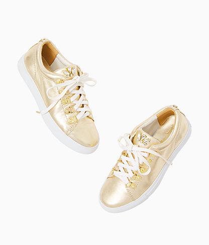 Hallie Sneaker, Gold Metallic, large 2