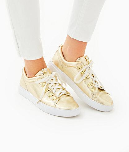 Hallie Sneaker, Gold Metallic, large 3