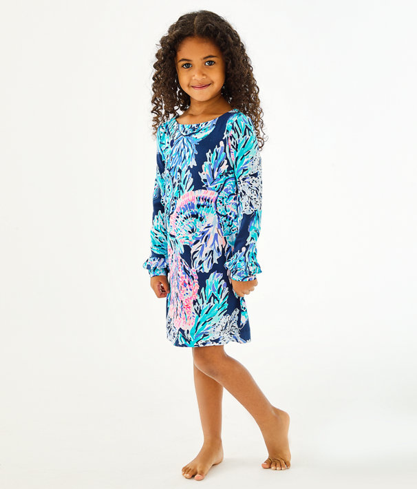 Girls UPF 50+ Mini Sophie Ruffle Dress, High Tide Navy Party In Paradise, large