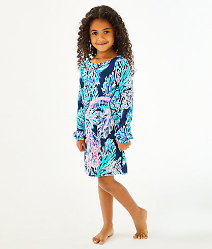 Girls UPF 50+ Mini Sophie Ruffle Dress, High Tide Navy Party In Paradise, large 1