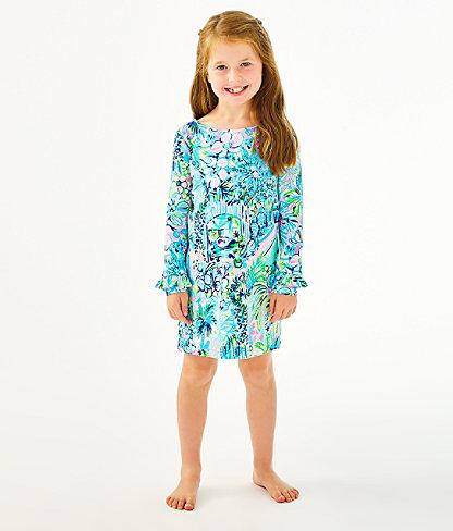 Girls UPF 50+ Mini Sophie Ruffle Dress, Multi Lillys House, large 0