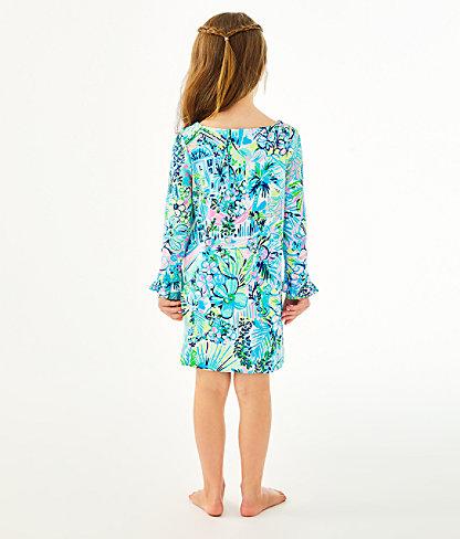 Girls UPF 50+ Mini Sophie Ruffle Dress, Multi Lillys House, large 1