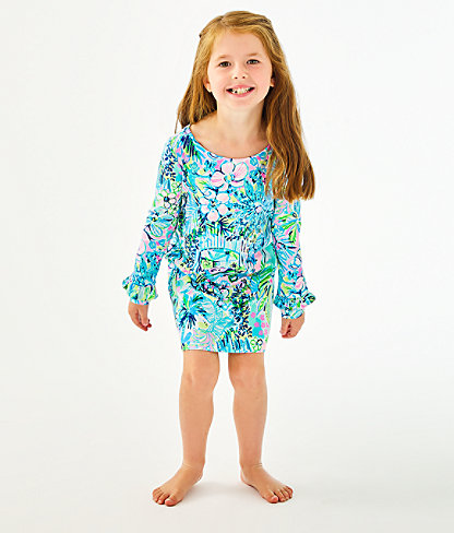 Girls UPF 50+ Mini Sophie Ruffle Dress, Multi Lillys House, large 2