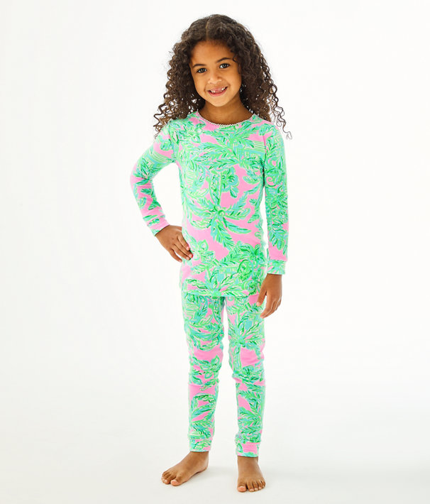 Girls Sammy Pajamas - Snug Fit, Mandevilla Baby Pink Sand Paradise, large