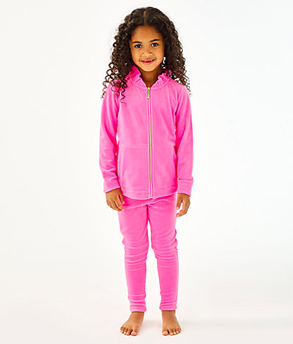 Girls Mini Jayla Velour Zip-Up, Prosecco Pink, large 0