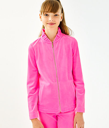 Girls Mini Jayla Velour Zip-Up, Prosecco Pink, large 1