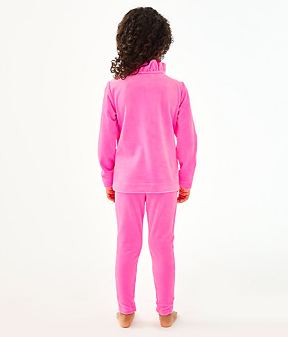 Girls Mini Jayla Velour Zip-Up, Prosecco Pink, large 2