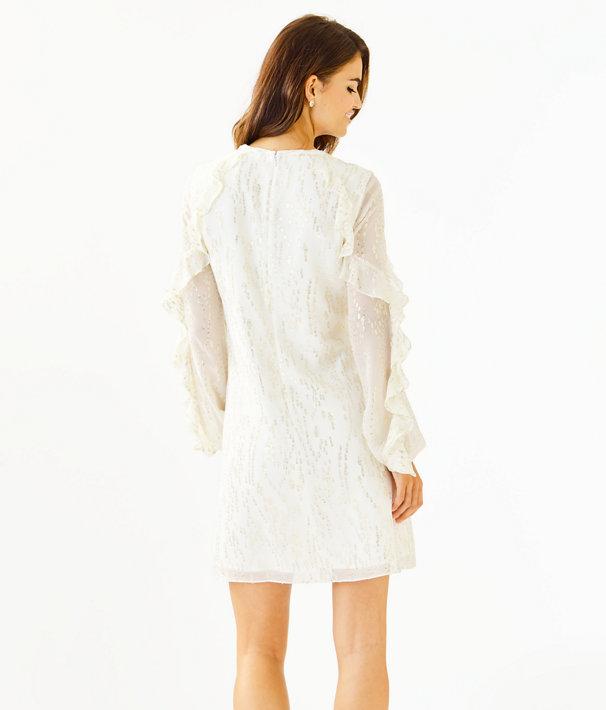 Belle Flounce Silk Dress, Coconut Fish Clip Chiffon, large