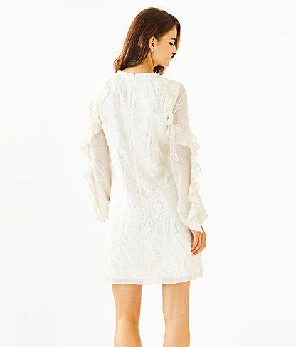 Belle Flounce Silk Dress, Coconut Fish Clip Chiffon, large 1