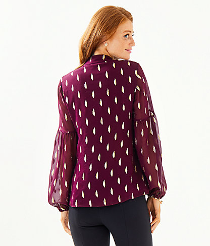 Shea Silk Tunic Top, Cabernet Berry Metallic Diamond Clip, large 1