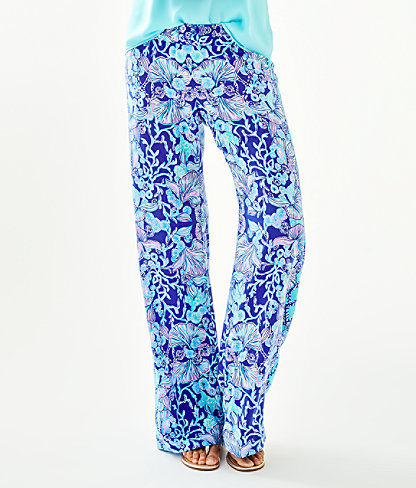 """33"""" Bal Harbour Mid-Rise Palazzo Pant, Lapis Lazuli Your Biggest Fan Engineered Palazzo, large 0"""