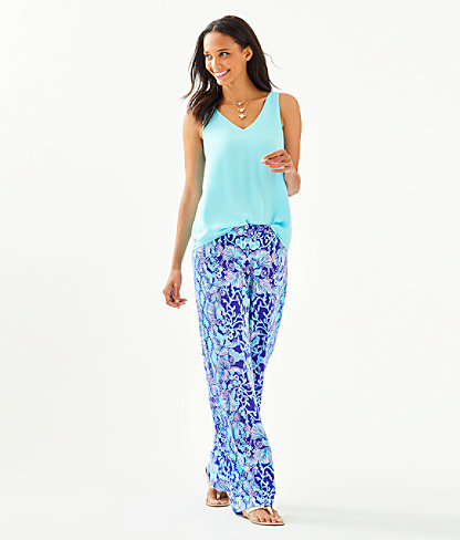 """33"""" Bal Harbour Mid-Rise Palazzo Pant, Lapis Lazuli Your Biggest Fan Engineered Palazzo, large 3"""