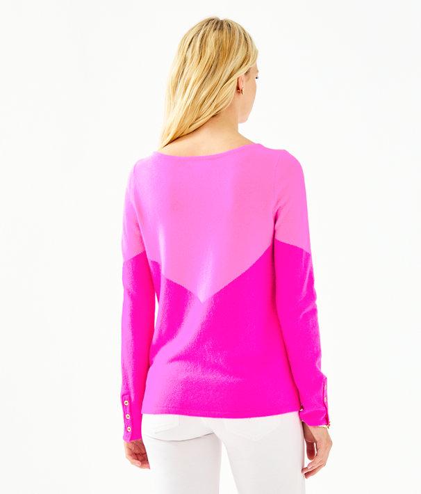 Brigitte Cashmere Sweater, Acai Berry Chevron Color Block, large
